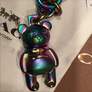 Coach Holographic Iridescent bear keychain keyfob